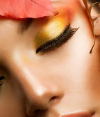 Autumn Makeup. Professional Fall Make-up Closeup — Stock Photo