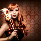 Beautiful Woman with the Carnival mask — Stockfoto