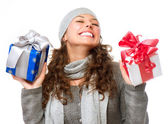 Happy Young Woman With Christmas Gifts. Gift Box — Stock Photo