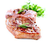 Meat. Grilled Beef Steak Isolated on White — Stock Photo