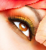 Maquillaje de otoño. otoño maquillaje closeup — Foto de Stock