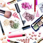 Zestaw do makijażu. kolaż — Zdjęcie stockowe