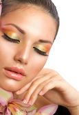 Beautiful Woman Face. Perfect Makeup — Stock Photo