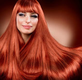 Healthy Straight Red Hair. Extension — Stock Photo