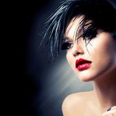 Fashion Art Girl Portrait. Punk Style — Stock Photo