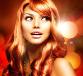 Beautiful Girl With Healthy Long Red Hair — Stock Photo