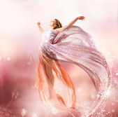 Fairy. Beautiful Girl in Blowing Dress Flying. Magic — Photo