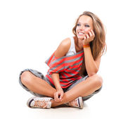 Teenage Girl on a White Background. Teenager — Stock Photo