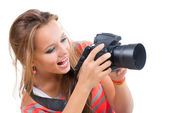 Teenage Girl with Professional Photo Camera. Isolated on white — Stock Photo