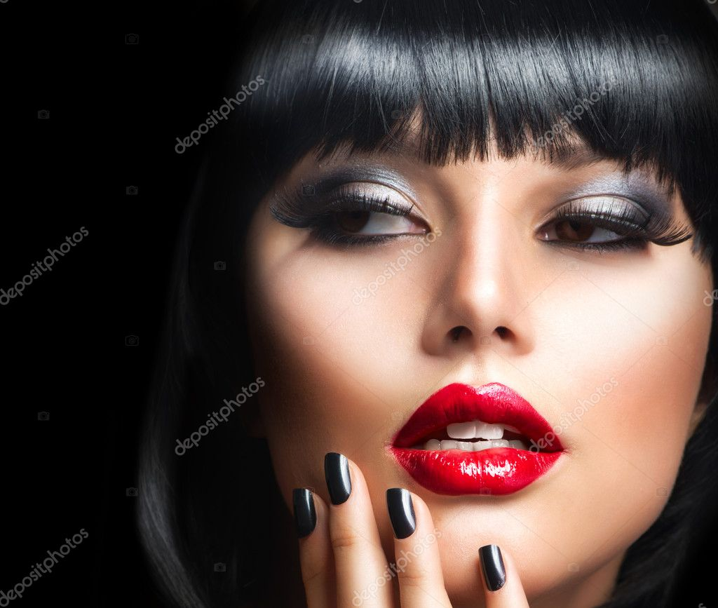 Beautiful Brunette Girl Portrait.Face.Makeup. Sensual Red Lips  — Stock Photo #14134304