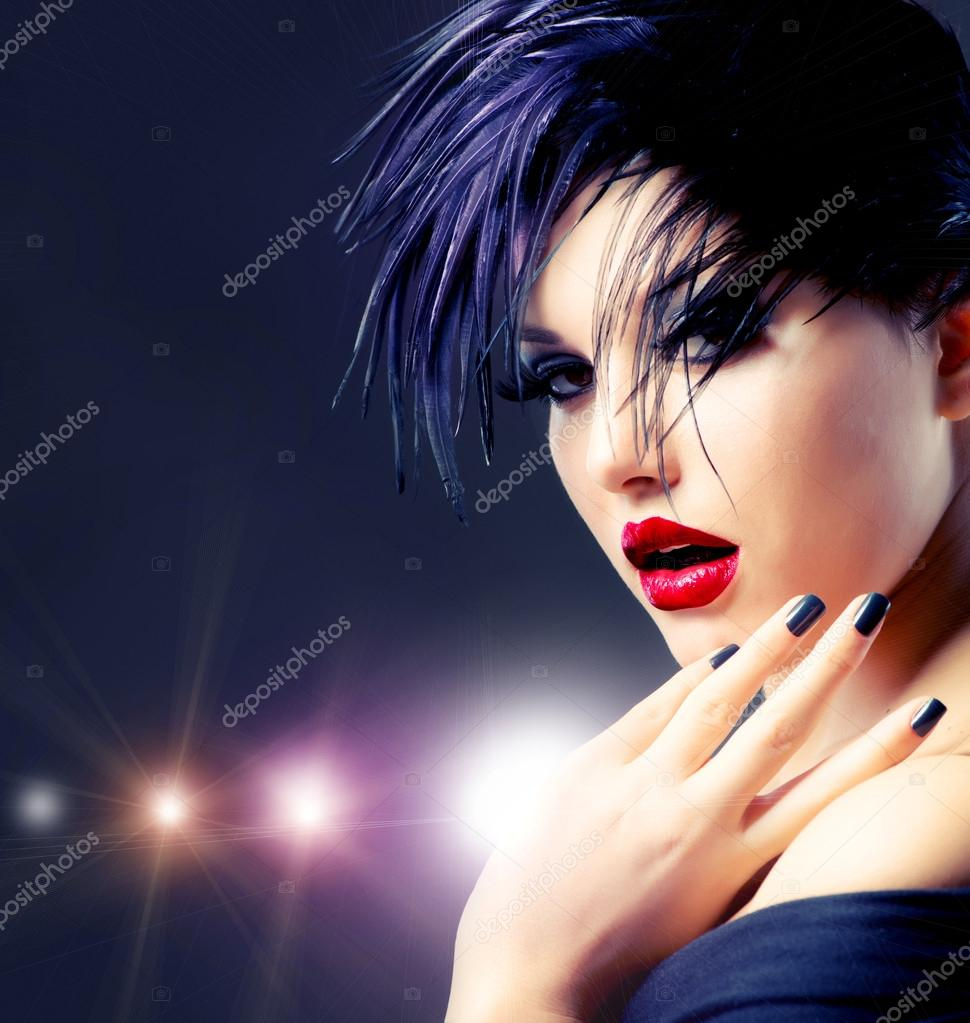 Fashion Art Girl Portrait. Punk Style   Stock Photo #14134316