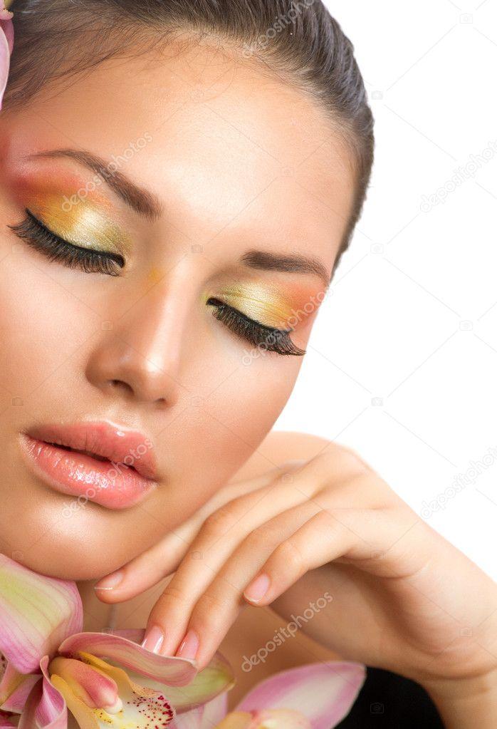 Beautiful woman face perfect makeup stock image Make up eyes