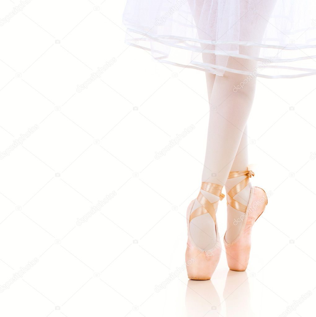 Ballerina Legs closeup. Ballet Shoes. Pointe — Stock Photo #14134568