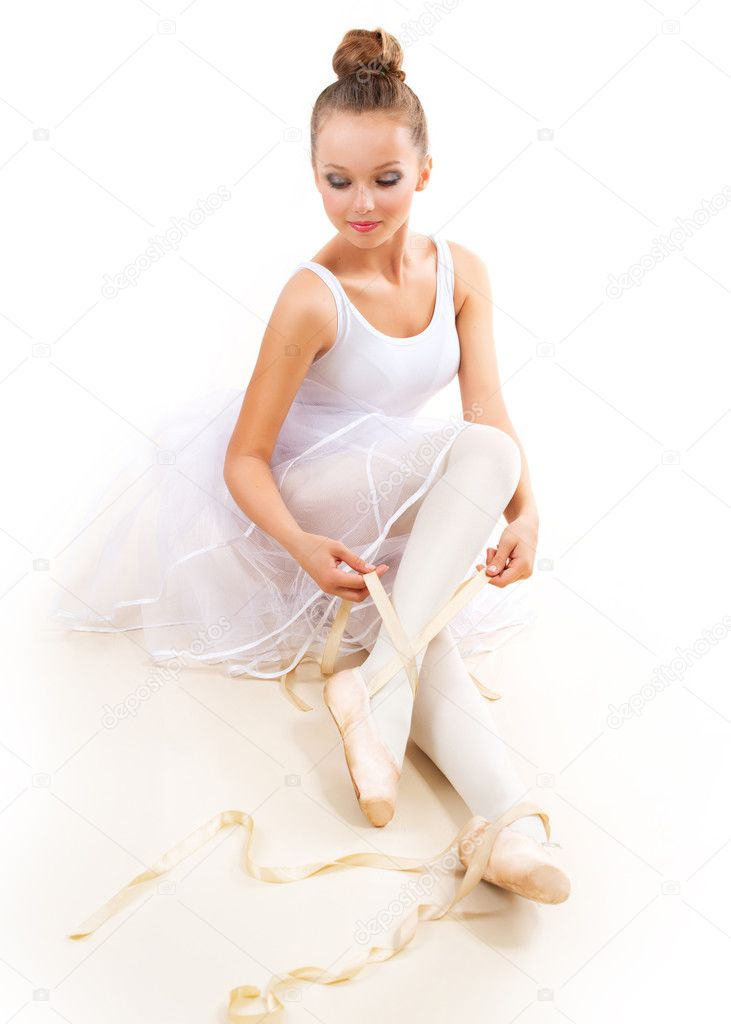 Ballerina. Pretty Ballet Dancer Wearing Pointes. Ballet Shoes  — Stock Photo #14134576