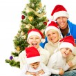 Foto Stock: Happy Christmas Family. Big Family with Kids