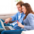 Online Shopping. Couple Using Credit Card to Internet Shop  — Stock Photo