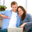 Online Shopping. Couple Using Credit Card to Internet Shop — Foto de stock #16276077