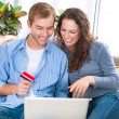 Online Shopping. Couple Using Credit Card to Internet Shop  — Stok fotoğraf