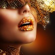 Luxury Golden Makeup. Beautiful Professional Holiday Make-up — Stock Photo #16276083