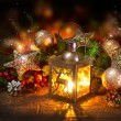 Christmas Scene. Holiday Greeting Card Design  — Stock Photo