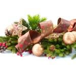 孤立在白色背景上的圣诞装饰品Χριστούγεννα και Πρωτοχρονιά, δέντρο, stump, πλαίσιο, ρολόι και μαξιλάρι isol — 图库照片