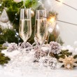 New Year Card Design with Champagne. Christmas Celebration — Stock Photo #16276141