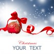 Christmas Holiday Background with Red Bauble and Snow  — Stock Photo