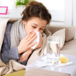 Flu or Cold. Sneezing Woman Sick Blowing Nose - Foto Stock