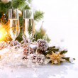New Year Card Design with Champagne. Christmas Celebration - Стоковая фотография