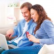 Online Shopping. Couple Using Credit Card to Internet Shop — Foto de Stock