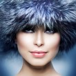 Royalty-Free Stock Photo: Fashion. Beautiful Girl in Fur Hat. Winter Woman