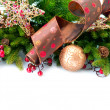 Christmas Decoration. Holiday Decorations Isolated on White — Stock Photo #16276295