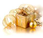 Christmas Gift Box with Decorations — Stock Photo