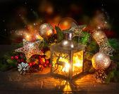 Escena de navidad. diseño de tarjeta de felicitación de vacaciones — Foto de Stock