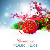Christmas Holiday Background with Decorations and Snowflakes — Stock Photo