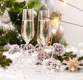 New Year Card Design with Champagne. Christmas Celebration — Stock Photo