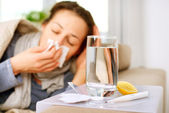 Sick Woman. Flu. Woman Caught Cold. Sneezing into Tissue — Foto de Stock