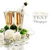 New Year Celebration. Two Champagne Glasses — Stock fotografie
