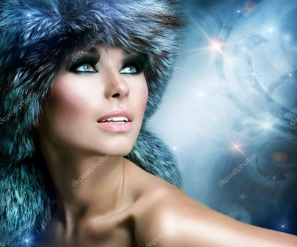 Fashion. Beautiful Girl in Fur Hat. Winter Woman  — Stock Photo #16276249
