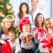 Happy Big Family with Christmas Gifts at Home — ストック写真