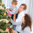 Young Family decorating a Christmas Tree — Stock Photo #19734663