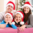 Christmas Family with Kids. Happy Smiling Parents and Children — Φωτογραφία Αρχείου