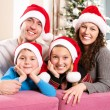Christmas Family with Kids. Happy Smiling Parents and Children — Foto de Stock