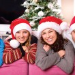 Christmas Family with Kids. Happy Smiling Parents and Children — Stock Photo #19734989