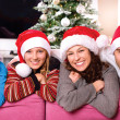 Christmas Family with Kids. Happy Smiling Parents and Children — Stock Photo