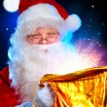 Christmas Santa. Santa Claus opening Magic Bag with Gifts — Stock Photo