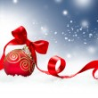 Christmas Holiday Background with Red Bauble and Snow — Stock Photo #19735793
