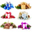 Foto de Stock  : Christmas Gift Boxes and Decorations Set
