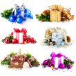 set scatole regalo di Natale e decorazioni — Foto Stock