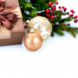 Christmas Decoration and Gift Box Isolated on White — Stock Photo